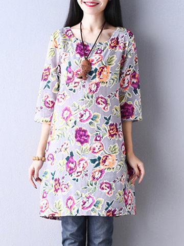 Casual Flower Print Half Sleeve Dress-Newchic-
