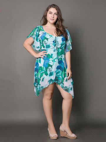 Casual Flower Printed V-Neck Short Sleeve Irregular Chiffon T-Shirt-Newchic-