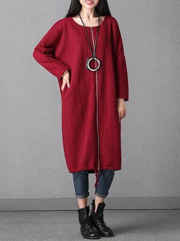 Casual Geometric Shape Zipper Coats-Newchic-