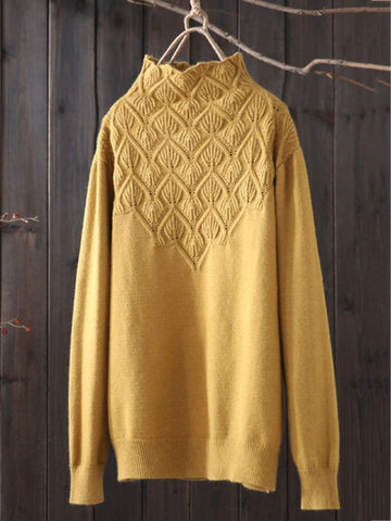 Casual High-neck Knitted Sweaters-Newchic-