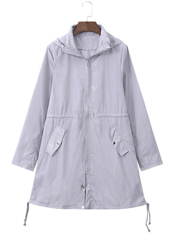 Casual Hooded Zipper Pocket Jacket-Newchic-