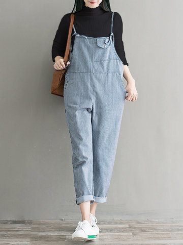 Casual Knitted Top Striped Jumpsuit-Newchic-