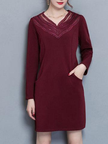 Casual Lace Rhinestone V-neck Pocket Thicken Dress-Newchic-