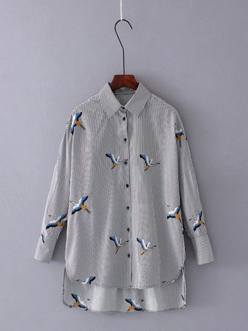 Casual Lapel Striped Embroidery Blouse-Newchic-