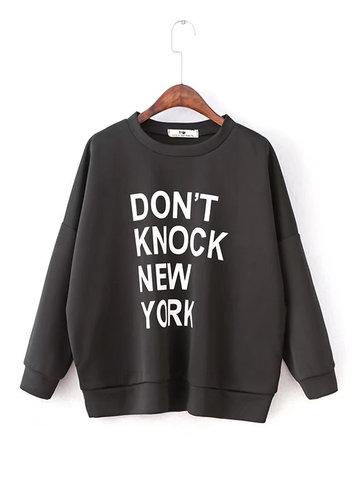 Casual Letter Print Women Sweatshirts-Newchic-
