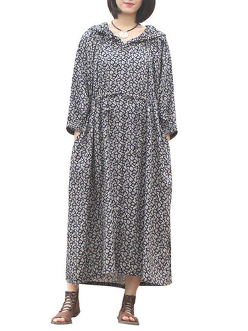 Casual Loose Floral Printed Long Sleeve Women Hooded Dresses-Newchic-