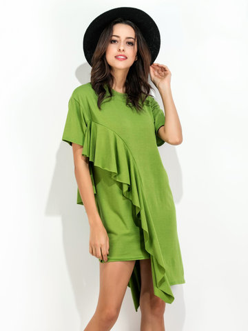 Casual Loose Flouncing O-neck Short Sleeve Mini Dress For Women-Newchic-