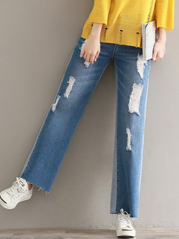 Casual Loose Patchwork Ripped Button Jeans For Women-Newchic-
