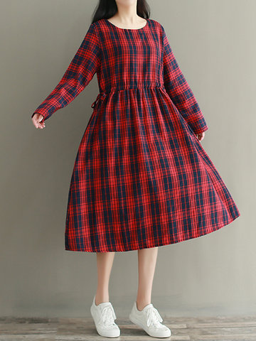 Casual Loose Plaid Dresses-Newchic-