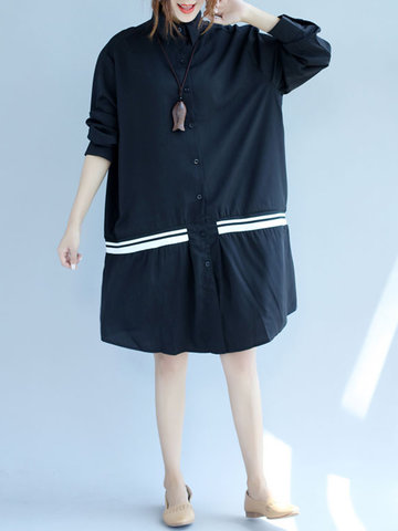 Casual Loose Striped Button Long Sleeve Turn-Down Collar Dress-Newchic-