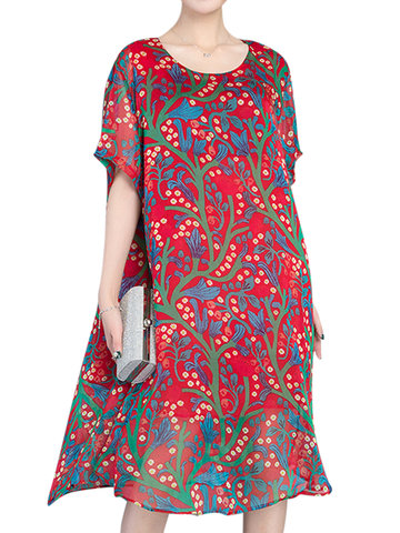 Casual O-neck Half Sleeves Printed Dresses For Women-Newchic-