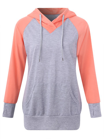 Casual Patchwork Hooded Women Hoodies-Newchic-