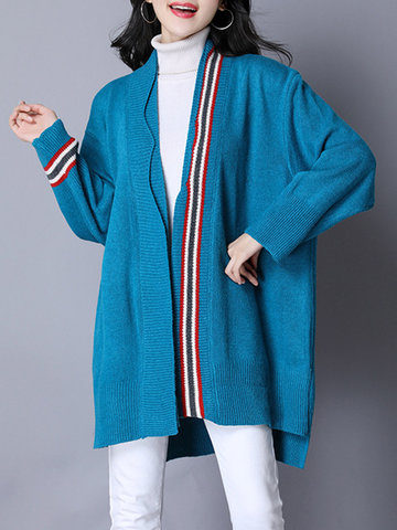 Casual Patchwork Striped Cardigans-Newchic-