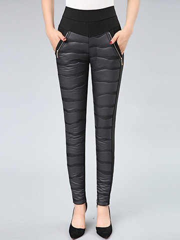 Casual Patchwork Tight Warn Velvet Pants-Newchic-