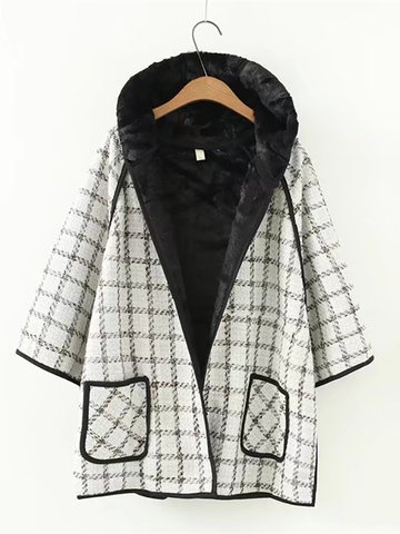 Casual Plaid Long Sleeve Hooded Thick Coat-Newchic-
