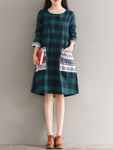 Casual Plaid Print Patchwork Long Sleeve O-neck Women Dresses-Newchic-