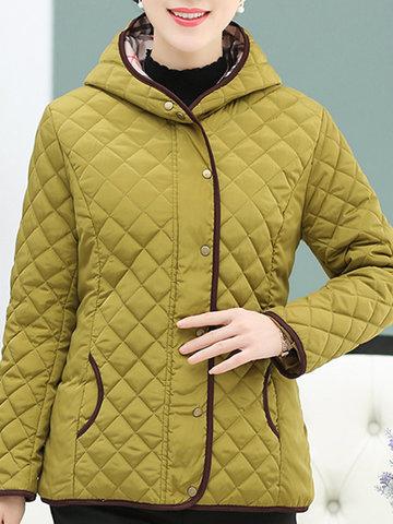 Casual Plaid Women Cotton-Padded Coats-Newchic-