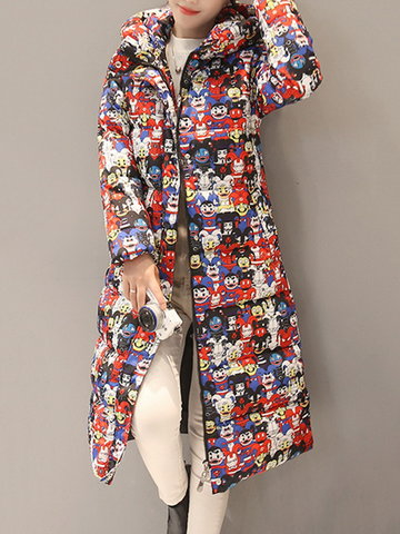 Casual Printed Hooded Pocket Down Coats-Newchic-