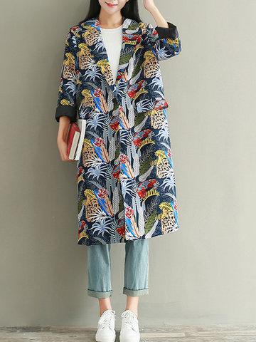 Casual Printed Long Sleeve Lapel Long Coat-Newchic-