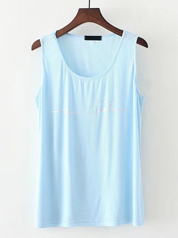 Casual Printed Sleeveless O-Neck Pullover Tank Tops For Women-Newchic-