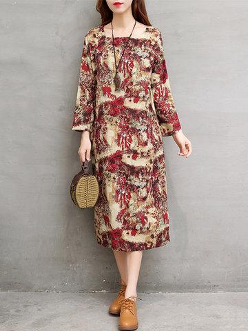 Casual Printed Square Collar Women Dresses-Newchic-