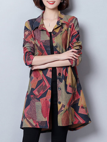 Casual Printed Women Trench Coats-Newchic-
