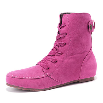 Casual Pure Color Ankle Lace Up Flat Boots-Newchic-Multicolor