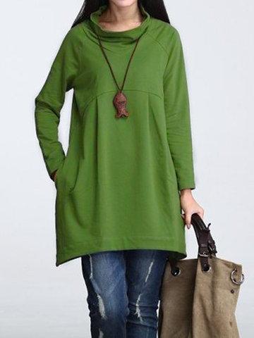 Casual Pure Color Sweatshirts-Newchic-