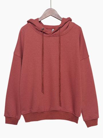 Casual Pure Hooded Women Hoodies-Newchic-