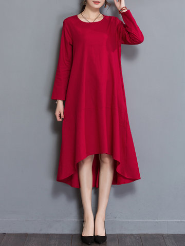 Casual Solid Color Irregular Hem Dresses-Newchic-