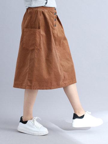 Casual Solid Elastic Waist Corduroy Skirt-Newchic-