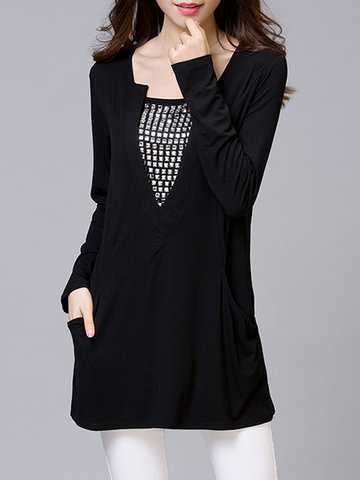 Casual Solid Rivet V-Neck Long Sleeve Pocket Blouse For Women-Newchic-