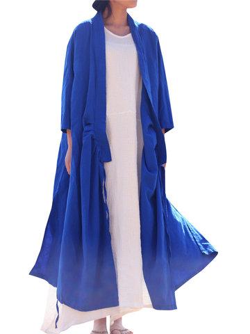 Casual Solid Splited Cross Wrap Tie Long Sleeve Women Coats-Newchic-
