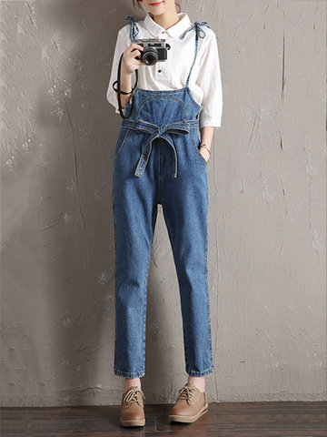 Casual Solid Strap Denim Jumpsuits With Belt-Newchic-