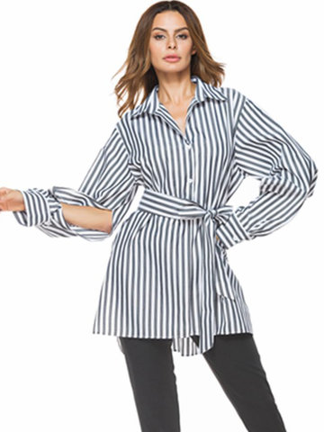 Casual Stripe Tie Waist Slit Long Sleeve Lapel Women Shirts-Newchic-
