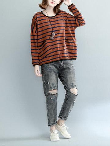 Casual Striped Pockets Button O-Neck Long Sleeve Sweatshirt-Newchic-