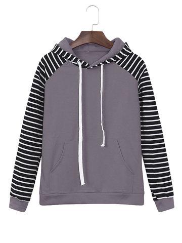 Casual Striped Sleeve Women Hoodies-Newchic-