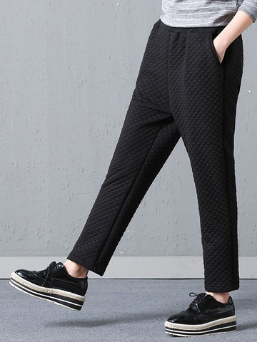 Casual Warm Embossed Elastic Waist Pants-Newchic-