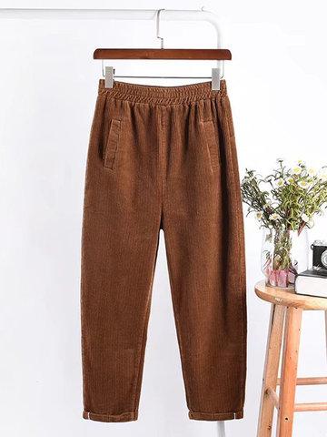 Casual Women Corduroy Harem Pants-Newchic-