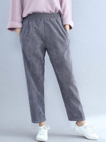 Casual Women Corduroy Pants-Newchic-