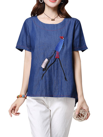 Casual Women Embroidery Short Sleeve O-neck Pullover T-Shirt-Newchic-