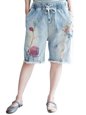 Casual Women Flower Printed Elastic Waist Drawstring Denim Shorts-Newchic-