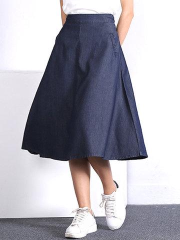 Casual Women High Waist Denim Skirts-Newchic-