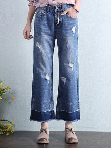 Casual Women High Waist Hole Pockets Denim Pants-Newchic-