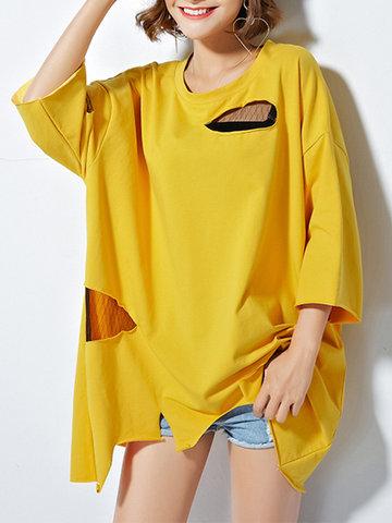 Casual Women Irregular Hem Hollow Pure Color T-shirts-Newchic-