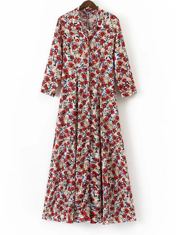 Casual Women Long Sleeve Turn-down Collar Floral Dresses-Newchic-
