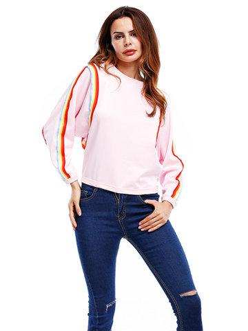 Casual Women Patchwork Long Sleeve O-Neck Sweatshirts-Newchic-