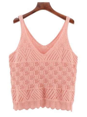 Casual Women Pink Sleeveless V-Neck Knit Vest-Newchic-