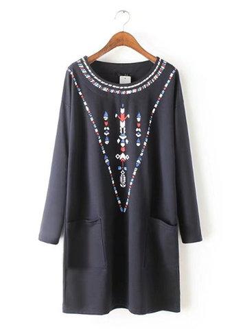 Casual Women Printed Long Sleeve O-neck Straight Mini Dress-Newchic-