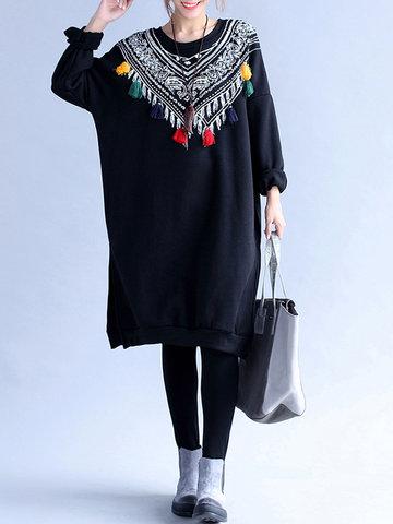 Casual Women Printed Tassels Long Sleeve Thicken Sweatshirt-Newchic-